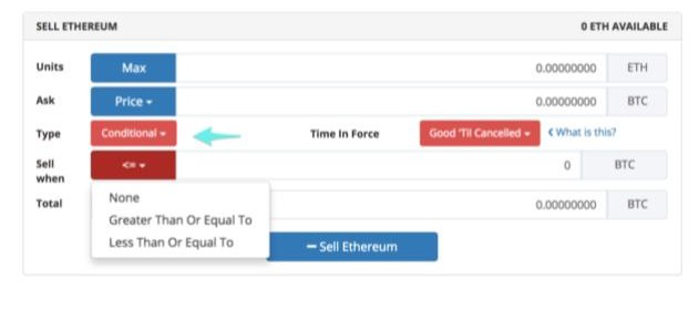 Screenshot of placing a conditional order on a cryptocurrency exchange.