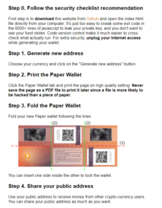 Instructions to create a cold storage for your cryptocurrency by printing paper wallets.