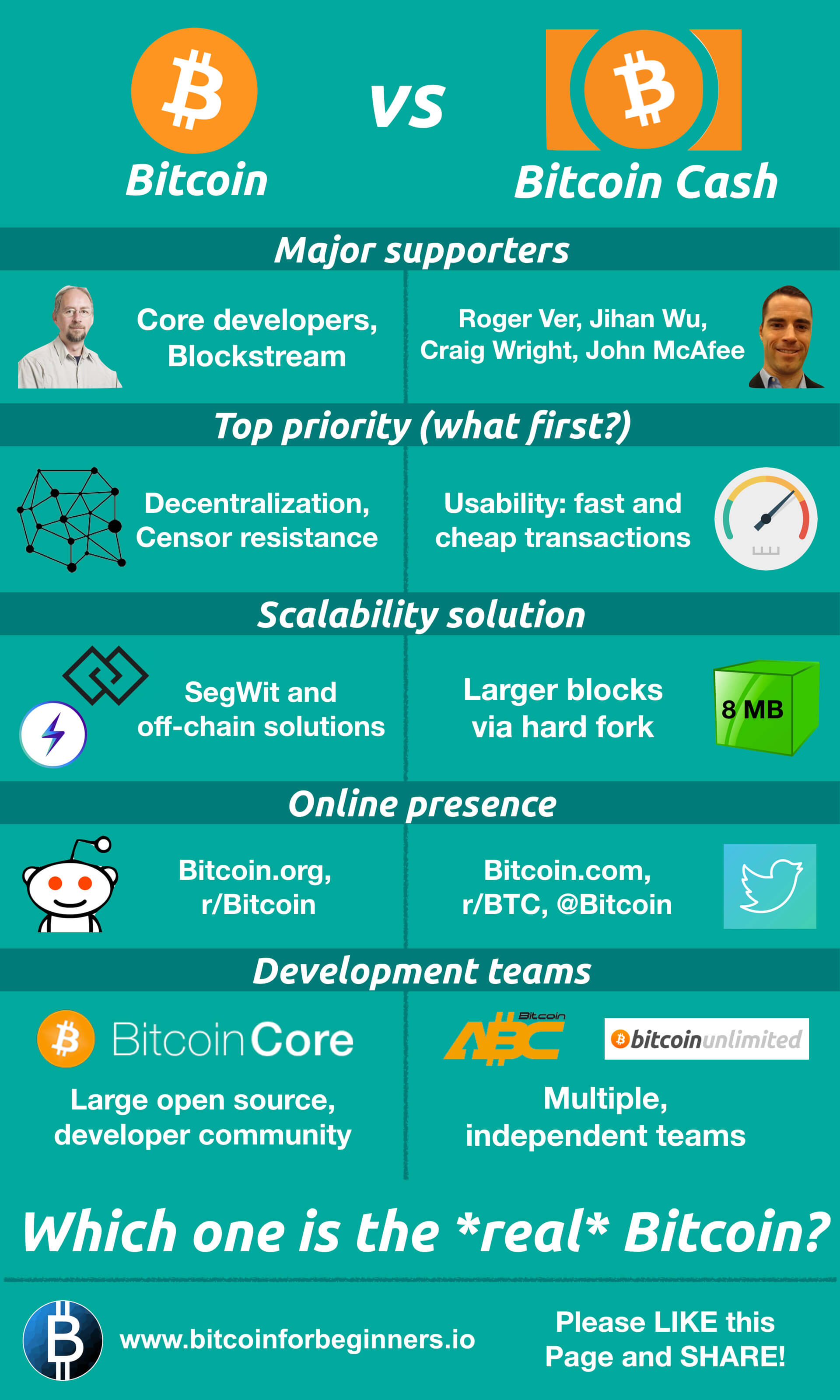 Bitcoin vs Bitcoin Cash Infographic