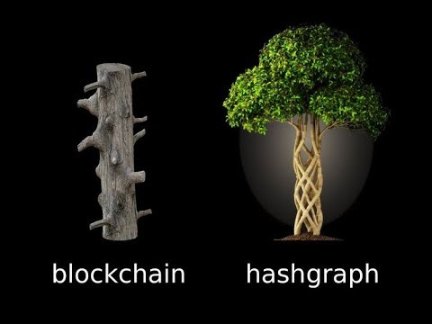 picture analogy to illustrate the differences between hashgraph and blockchain technology