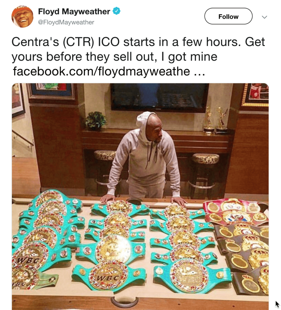 Floyd Mayweather fined by SEC for promoting Centra ICO