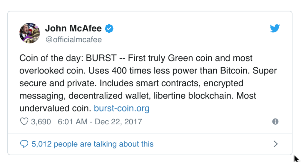 John McAfee warned by SEC to stop his sponsored promotional tweets about ICOs