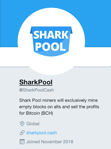 SharkPool Twitter Profile Page @SharkPoolCash